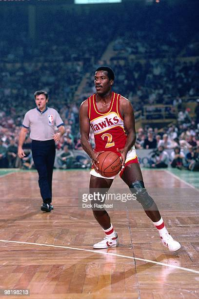 Walker Russell of the Atlanta Hawks looks to make a play against the Boston Celtics during a game played in 1985 at the Boston Garden in Boston...