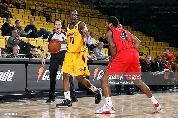 Walker Russell of the Fort Wayne Mad Ants drives the ball against Jamaal Tatum of the Idaho Stampede during day 2 of the DLeague Showcase at McKay...