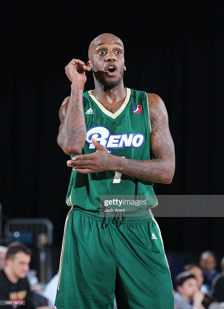 Walker Russell #7 of the Reno Bighorns directs a teammate while playing against the Springfield Armor during the 2013 NBA D-League Showcase on January 7, 2013 at the Reno Events Center in Reno, Nevada.