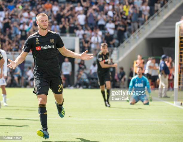 Walker Zimmerman of Los Angeles FC celebrates his 2nd goal with Carlos Vela of Los Angeles FC during Los Angeles FC's MLS match against San Jose...