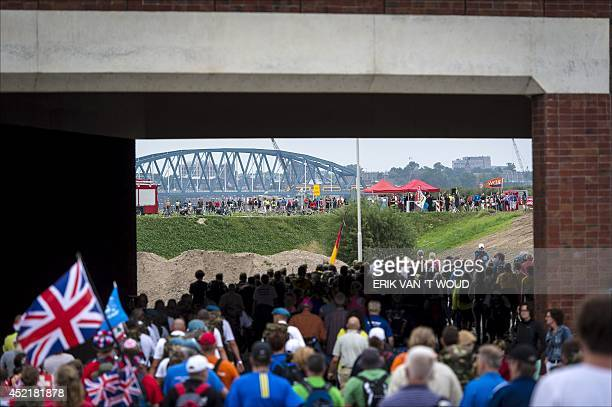 Walkers ambulate during the first day of the 98th annual fourday walking event the 'Vierdaagse' in Nijmegen Netherlands on July 15 2014 The...