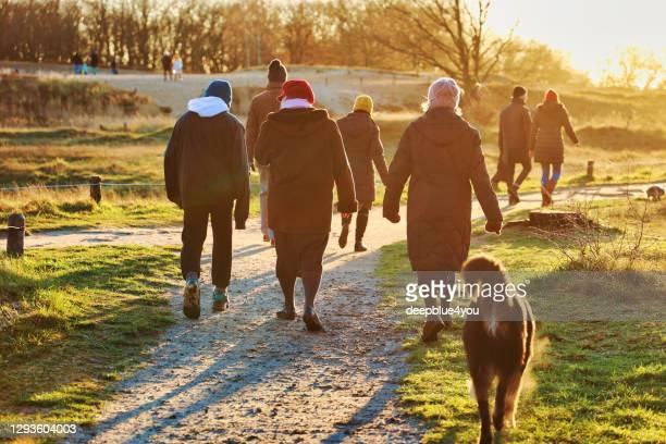 vandrare njuta av det vackra vädret på juldagen under korona lockdown i ett naturreservat i hamburg, tyskland - menschengruppe bildbanksfoton och bilder