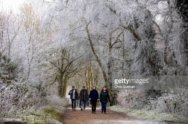 Walkers pass trees suspended in frost on January 10,2021 in Hindhead, England.
