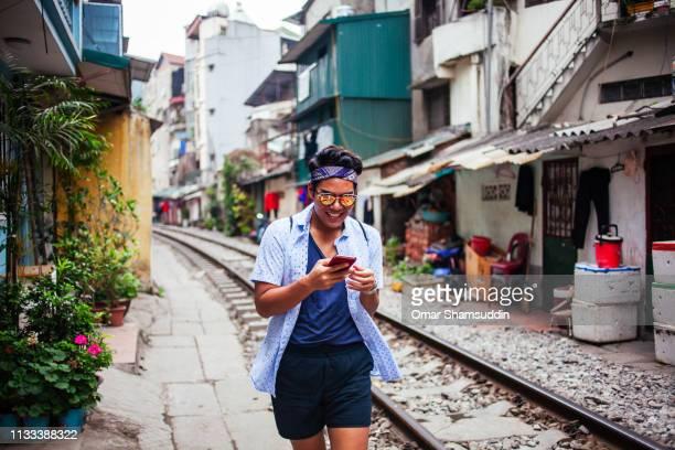 Walking along Hanoi Train Street
