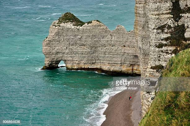 Walking along Étretat Cliff Beach, Normandy, France