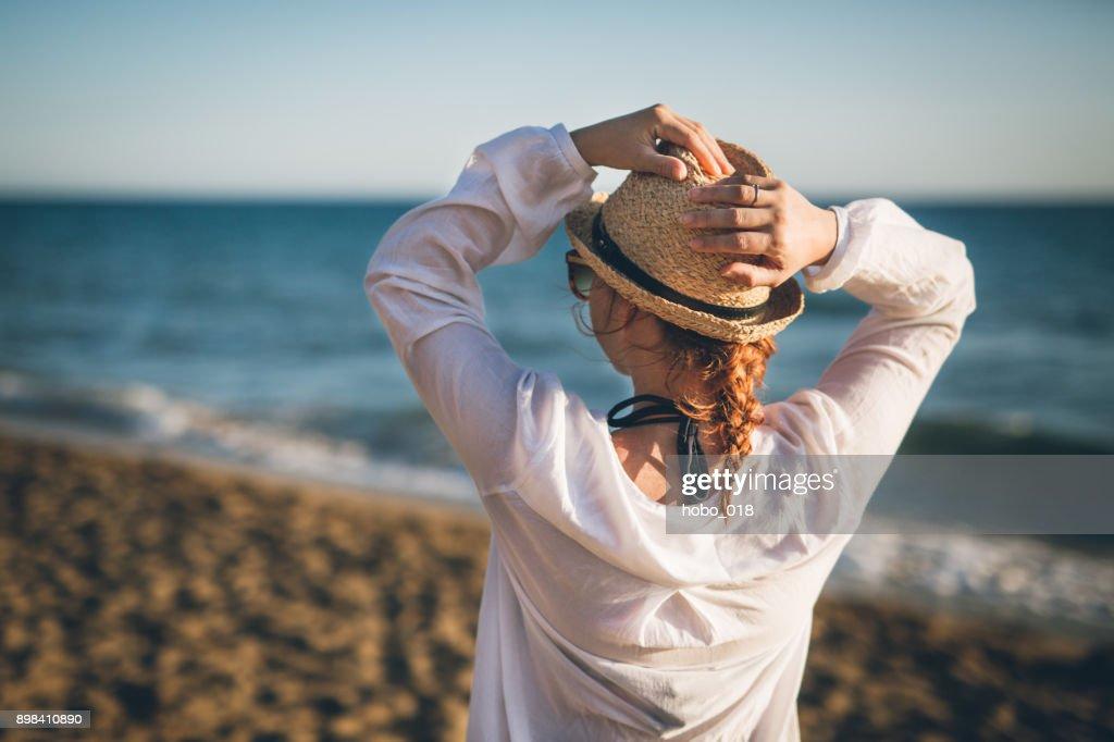 Walking among beautiful beach in Corfu island : Stock Photo