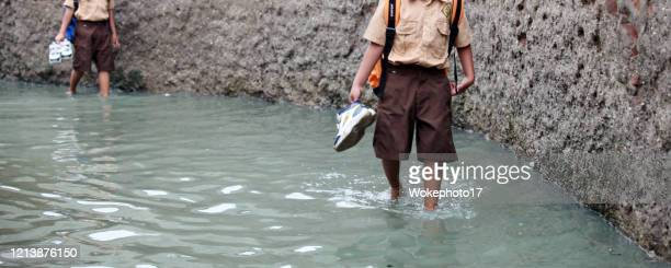 walking at flood water - world water day stock pictures, royalty-free photos & images