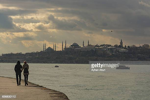 Walking at The waterfront of Salacak at sunset,Uskudar,Istanbul,Turkey