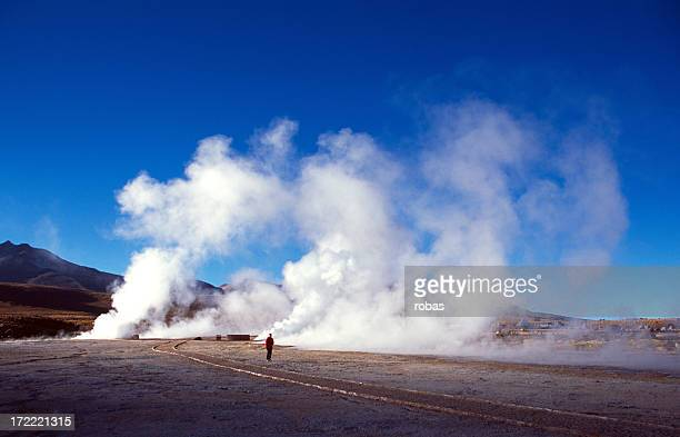 Walking between the geysers of El Tatio