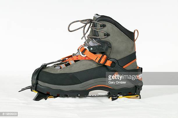 Walking boot with crampon attached