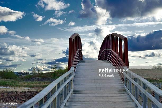 walking bridge - moncton stock photos and pictures