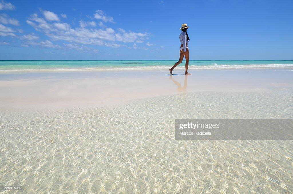 Walking by the sea, Cayo Coco, Cuba. : Stock Photo