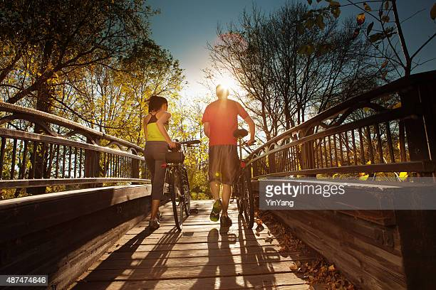 walking couple exercising for healthy living - minnesota bildbanksfoton och bilder