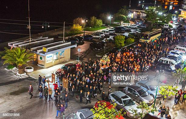 walking during greek orthodox-easter night in thassos island kavala greece