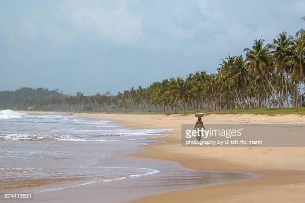Walking home on Butre Beach, Ghana