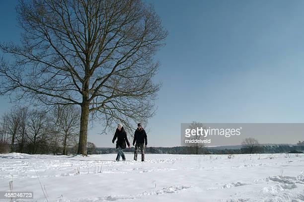 徒歩で、冬の風景 - オランダ リンブルフ州 ストックフォトと画像