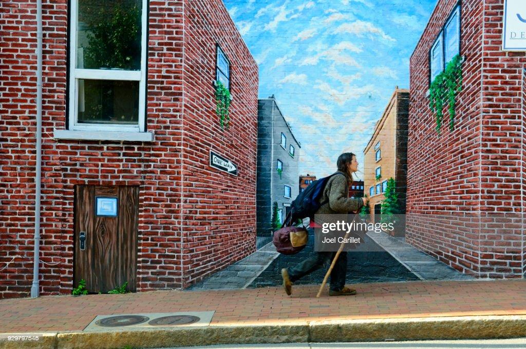 Walking in downtown Asheville, North Carolina : Stock Photo