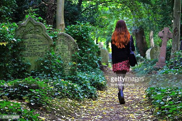 walking in highgate cemetery - highgate stock pictures, royalty-free photos & images