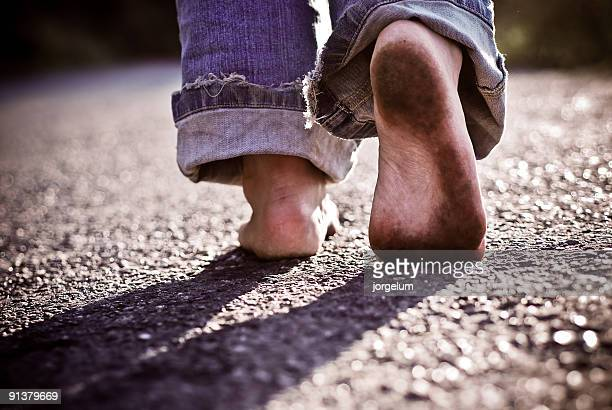 walking in nothingness - dirty feet stock pictures, royalty-free photos & images