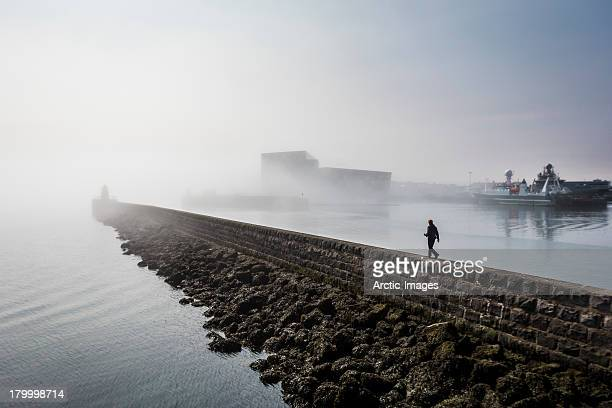 Walking in the fog, Reykjavik Harbor