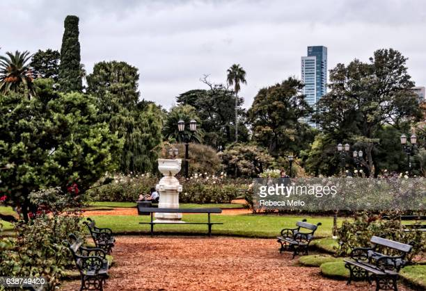 walking in the rosedal park - palermo buenos aires stock photos and pictures