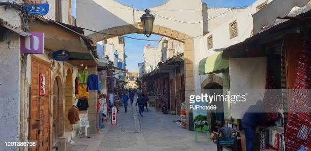 walking in the souk of rabat's medina - morocco - pjphoto69 foto e immagini stock