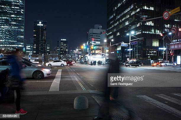 Walking in the street at night