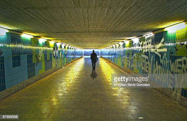 walking in the tunnel - christian beirle stock pictures, royalty-free photos & images