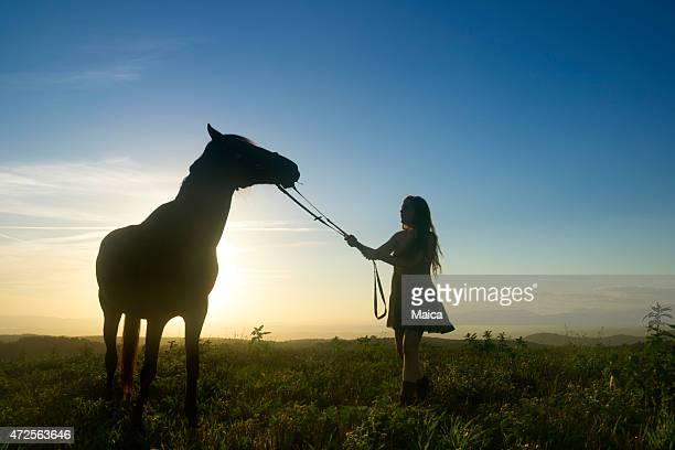 Walking my horse at sunset
