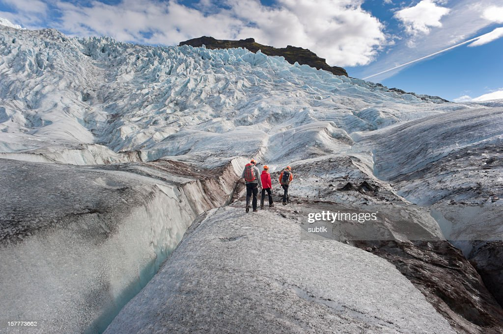 walking on a glacier : Stock Photo