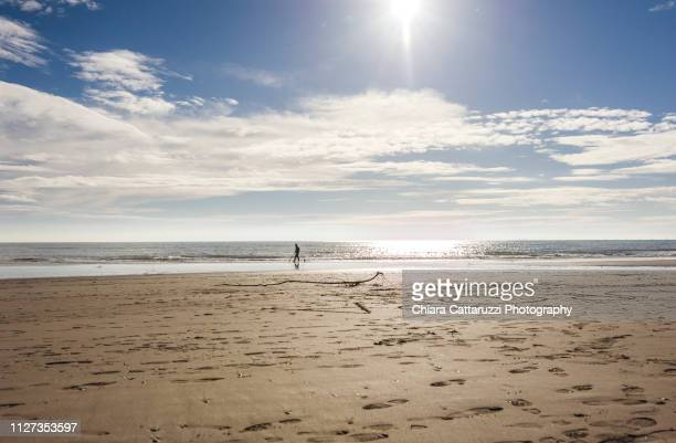 walking on a winter beach - cielo stock pictures, royalty-free photos & images