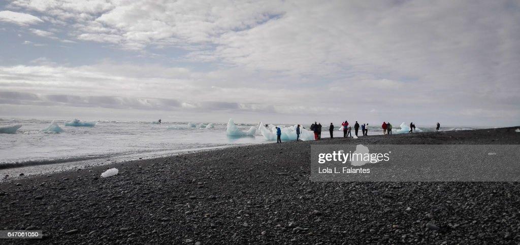 Walking on diamont beach : Foto de stock