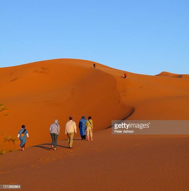 walking on dunes - merzouga stock pictures, royalty-free photos & images