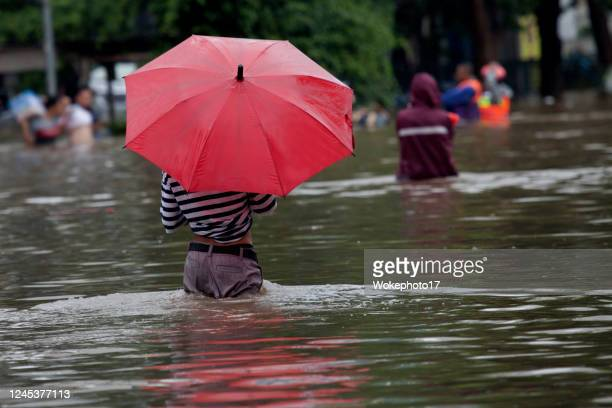 walking on flood - torrential rain stock pictures, royalty-free photos & images