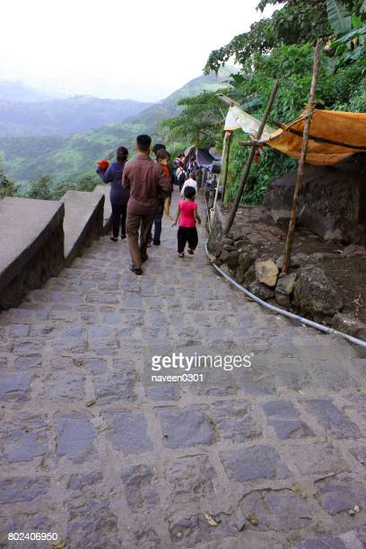 Walking on footpath at a hill station