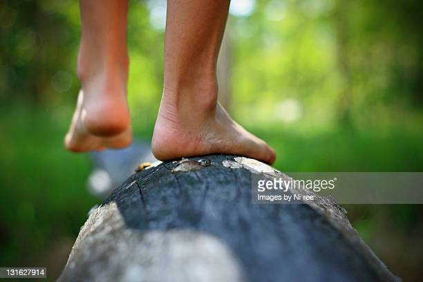 Walking on log