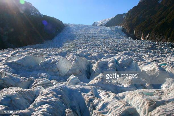 Walking on Majestic Franz Josef Glacier in idyllic Southern Alps, Westland national park, South New Zealand