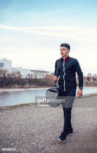 walking on sunshine - gym bag stock pictures, royalty-free photos & images