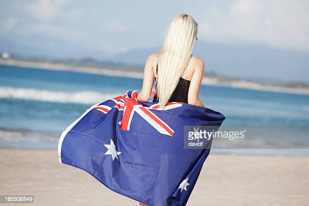 Walking on the Beach With Australian Flag