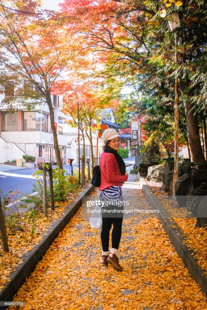 Walking on the footpath with the yellow leaves : Stock Photo
