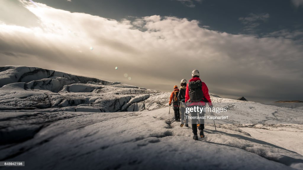 Walking on the glacier, Iceland : Stock Photo