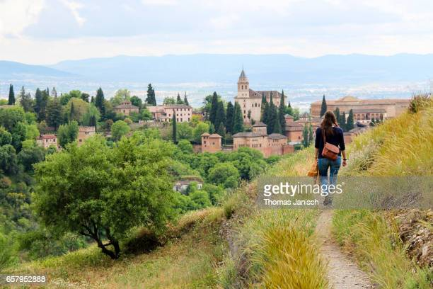 Walking on the hills of Granada towards the Alhambra