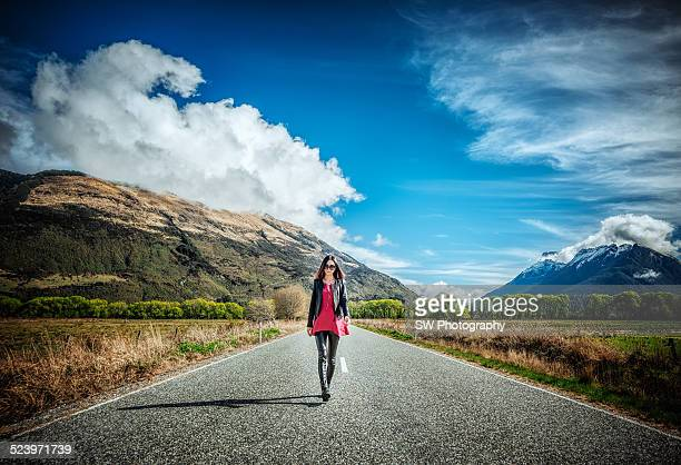 Walking on the road to Glenorchy, New Zealand