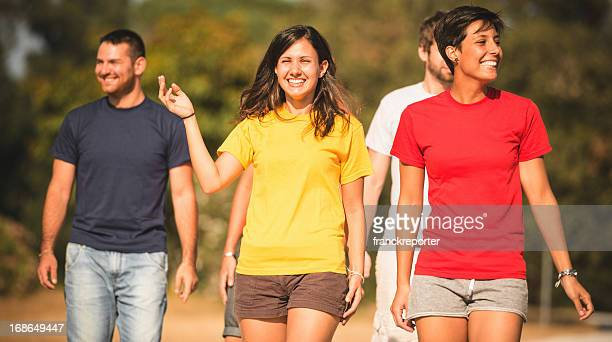 Walking outdoors with friends