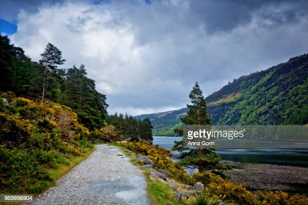 Walking path along north shore of Upper Lake in Wicklow Mountains National Park by Glendalough, stormy spring skies