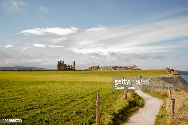 walking path between whitby and robinshood bay with whitby abbey - national park stock pictures, royalty-free photos & images