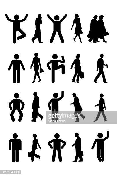 walking people silhouettes business isolated - symbol stock pictures, royalty-free photos & images
