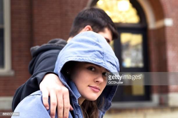 Walking side by side with the boyfriend