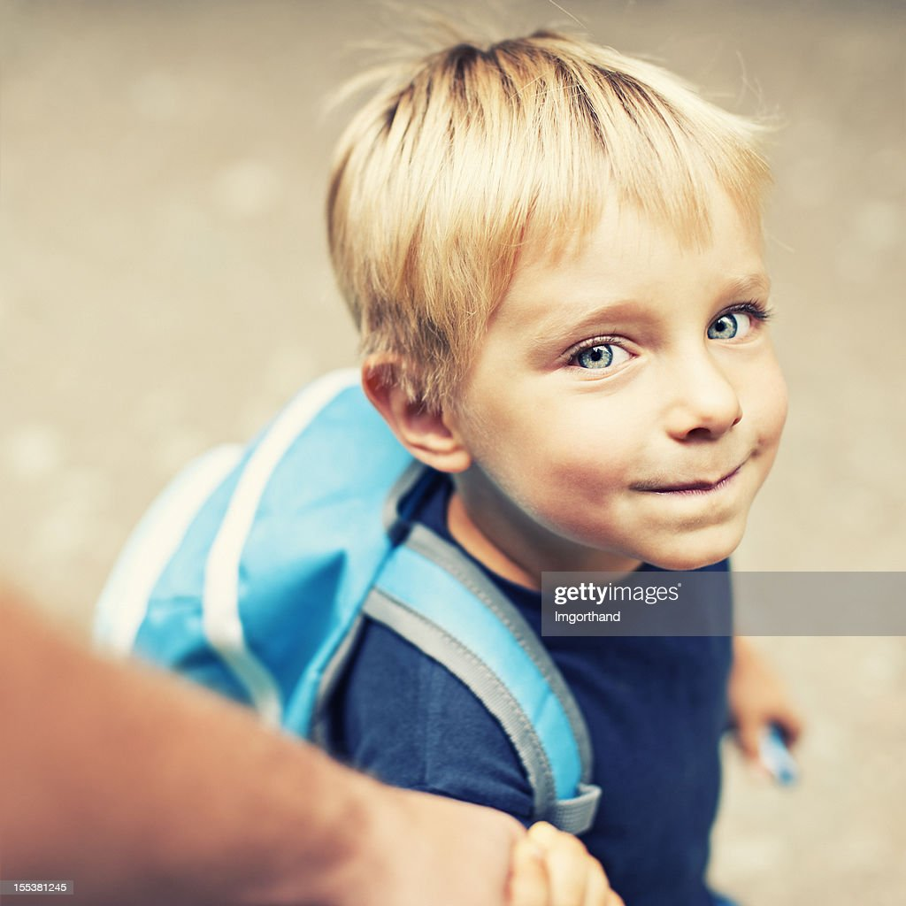Walking son to school : Stock Photo