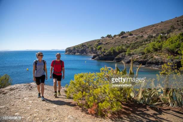 walking the cami de ronda coastal path around the costa brava coastline, spain - mediterranean sea stock pictures, royalty-free photos & images
